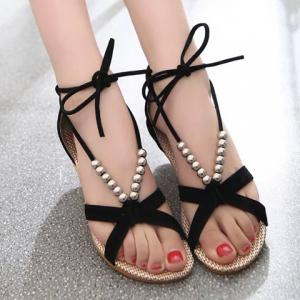 Trendy Solid Color and Beading Design Women's Sandals -