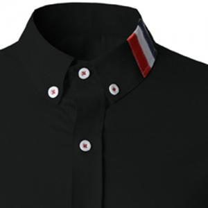 Stylish Shirt Collar Slimming Buttons Design Stripes Splicing Long Sleeve Polyester Shirt For Men - BLACK L