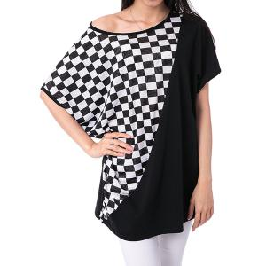 Laconic Scoop Neck Rhombus Pattern Batwing Sleeve Women's T-Shirt
