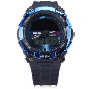 Skmei 1049 Solar Power Army LED Watch Date Week Dual-movt 5ATM Water Resistant Military Wristwatch for Sports -