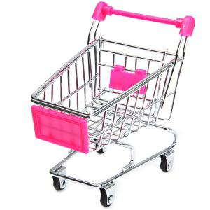 12cm Height Small Shopping Cart Educational Toy for Kids - Pink - Style 1