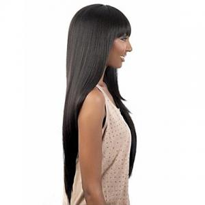 Exquisite Full Bang Extra Long Straight Black Synthetic Wig For Women -