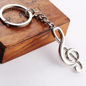 Music Note Shape Key Ring - SILVER
