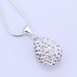 Water Drop Rhinestone Pendant Necklace - WHITE