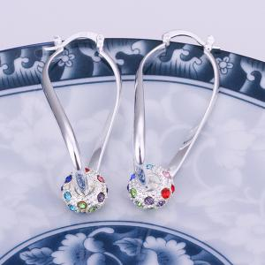 Pair of Ball Rhinesone Alloy Drop Earrings - SILVER