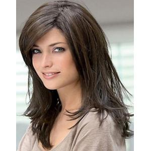 Chic Long Brown Straight Hair Fluffy Inclined Bang Women's Tilt Synthetic Wig -