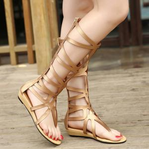 Zip Back High Strappy Gladiator Sandals -