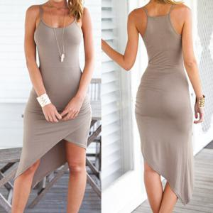 Drape Asymmetric Slip Dress - Light Khaki - Xl