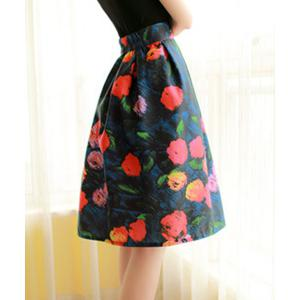 Elegant High-Waisted Printed A-Line Women's Midi Skirt - COLORMIX M