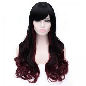 Sophisticated Side Bang Long Sexy Fluffy Wavy Black and Red Ombre Synthetic Wig For Women