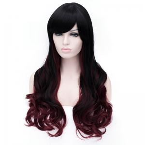 Sophisticated Side Bang Long Sexy Fluffy Wavy Black and Red Ombre Synthetic Wig For Women - RED/BLACK