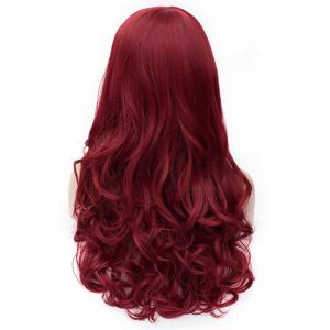 Outstanding Capless Long Deep Wavy Dark Red Fluffy Women's Synthetic Wig With Side Bang -