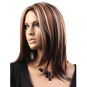 Attractive Layered Mixed Color Medium Straight Fluffy Capless Women's Synthetic Wig -