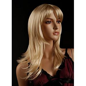 Faddish Side Bang Layered Golden Blonde Long Straight Tilt Women's Synthetic Wig - Golden - 24inch