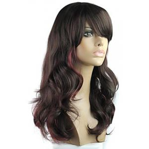 Vogue Highlight Long Fluffy Wavy Heat Resistant Women's Synthetic Wig With Face Side Wig -