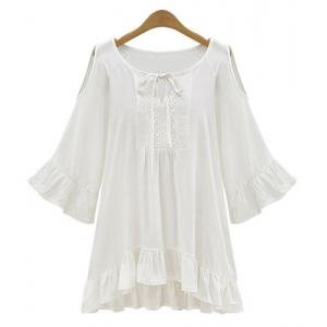 Scoop Neck Hollow Out Ruffle Peasant Blouse