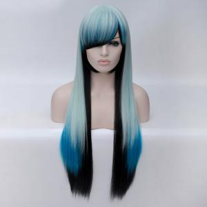 Fashion Charming Ombre Side Bang Long Straight Heat Resistant Synthetic Cosplay Wig For Women - MULTI