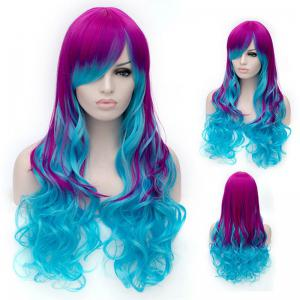 Fashion Charming Ombre Side Bang Long Wavy Heat Resistant Synthetic Cosplay Wig For Women
