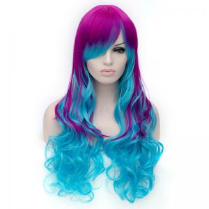 Fashion Charming Ombre Side Bang Long Wavy Heat Resistant Synthetic Cosplay Wig For Women - COLORMIX