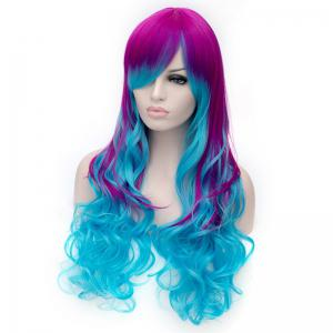 Fashion Charming Ombre Side Bang Long Wavy Heat Resistant Synthetic Cosplay Wig For Women -