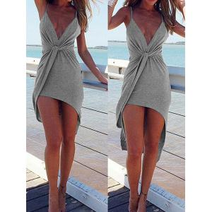 Spaghetti Strap Twist Front High Low Backless Dress