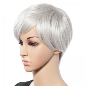 Fashionable Short White Trendy Side Bang Natural Glitter Straight Synthetic Wig For Women - WHITE
