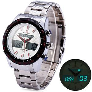 Naviforce 9024 Dual Movt Male Cool Watch with Date Day Function Water Resistance -