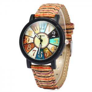 Sonsdo 6838 Retro Quartz Watch with Unique Leather Band for Lady - Colormix