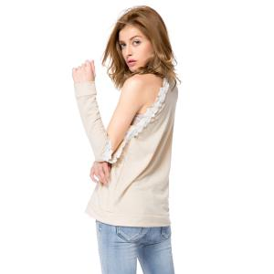 Stylish Round Neck Long Sleeve Hollow Out Laciness Women's Sweatshirt - APRICOT M