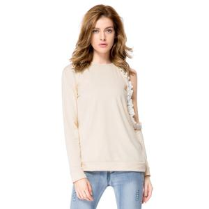 Stylish Round Neck Long Sleeve Hollow Out Laciness Women's Sweatshirt