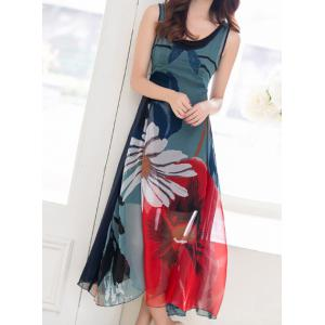 Bohemian Sleeveless Scoop Collar Floral Print Women's Dress -