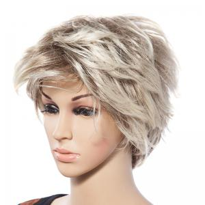 Casual Style Short Natural Straight Mixed Blonde Synthetic Wig For Women -