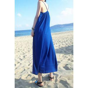 Bohemian Spaghetti Strap Solid Color Loose-Fitting Dress For Women -