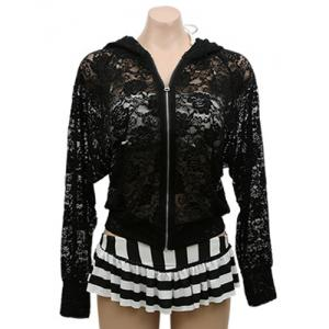 Stylish Long Sleeves See-Through Zippered Hooded Jacket For Women