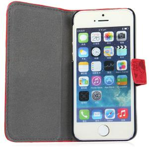 Magnetic Snap Design PU Leather Flip Protective Cover Case for iPhone SE / 5 / 5S -