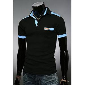 Fashion Color Block Turn-down Collar Pocket Embellished Slimming Short Sleeves Men's Polo T-Shirt -