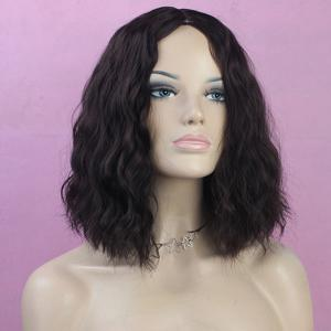 Western Style Fluffy Light Brown Medium Deep Wavy Kanekalon Women's Synthetic Wig -