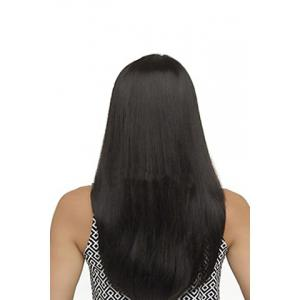 Fashion Side Bang Charming Long Natural Straight Black Heat Resistant Synthetic Capless Wig For Women -