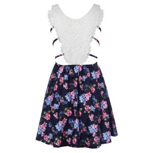 Stylish Spaghetti Strap Floral Print Hollow Out Lace Splicing Dress For Women -