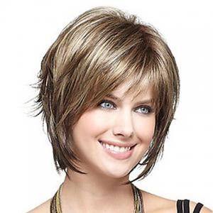 Fashion Side Bang Charming Short Straight Dark Brown Mixed Blonde Heat Resistant Synthetic Capless Wig For Women -