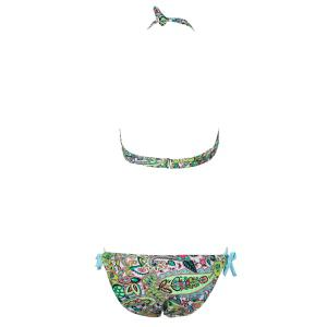 Sexy Halterneck Print Side-Tie Women's Bikini Set - LAKE BLUE L