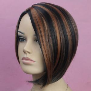 Vogue Side Bang Kanekalon Short Mixed Color Straight Fluffy Women's Synthetic Bob Wig -