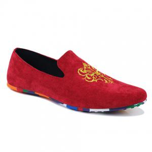 Trendy Suede and Floral Print Design Men's Loafers - Red - 42