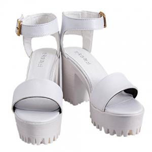 Fashionable Chunky Heel and Solid Color Design Women's Sandals -