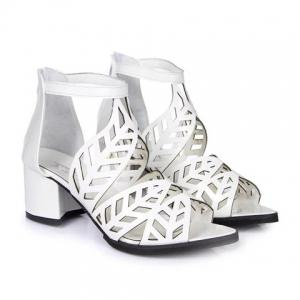 Stylish Zip and Hollow Out Design Women's Sandals - WHITE 38
