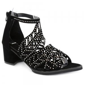 Block Heel Rhinestone Sandals - Black - 39