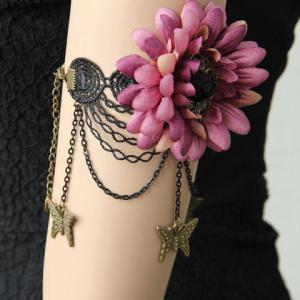 Floral Butterfly Shape Lace Arm Chain Jewelry -