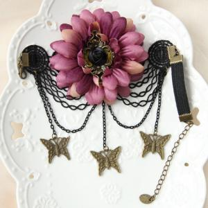 Floral Butterfly Shape Lace Arm Chain Jewelry - PINK