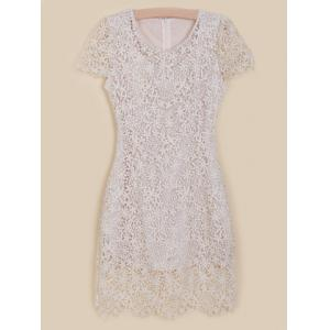 Elegant Scoop Neck Openwork Floral Embroidery Faux Pearl Embellished Short Sleeves Silk Women's Dress -