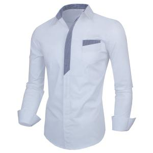 Personality Color Block Fly Slimming Turn-down Collar Long Sleeves Men's Shirt -